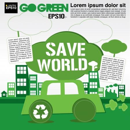 the natural world: Save world concept illustration  Illustration