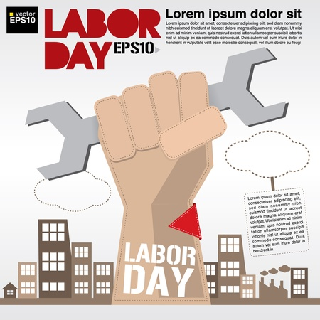 labor strong: May 1st Labor day illustration conceptual