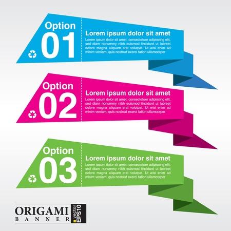 Colorido abstracto origami pancarta Ilustración de vector