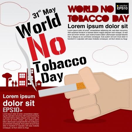 prohibido fumar: 31 de mayo día mundial sin tabaco ilustración Vectores