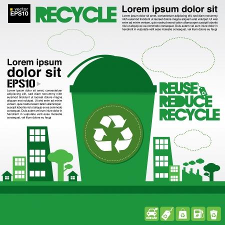 residuos organicos: Reciclar concepto de ilustración Vectores