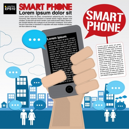 communicated: Smart phone communicated conceptual illustration