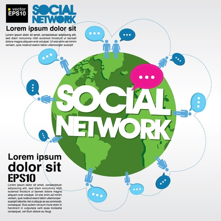 networking: Social networking conceptual illustration  Illustration