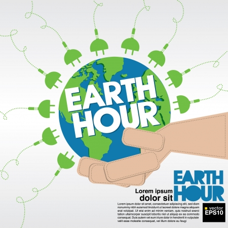 hand globe: Earth Hour conceptual illustration