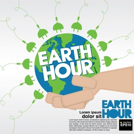 mani terra: Earth Hour illustrazione concettuale