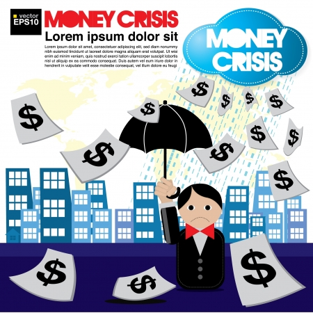 Money crisis conceptual illustration  Vector