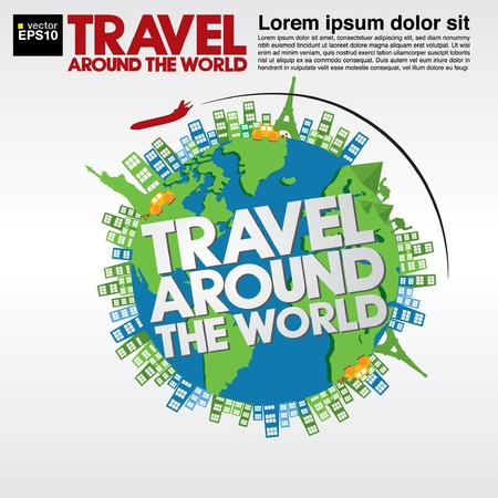 Travel around the world conceptual illustration Stock Vector - 21222216