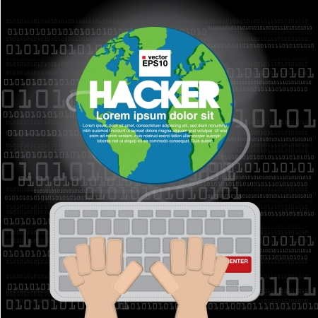 criminal activity: Hacker illustration  Illustration