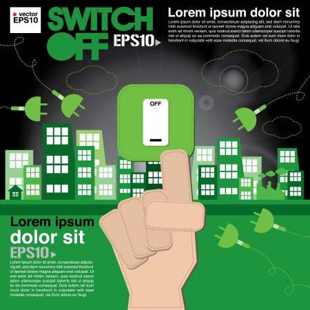 save earth: Switch off, sustainable development concept