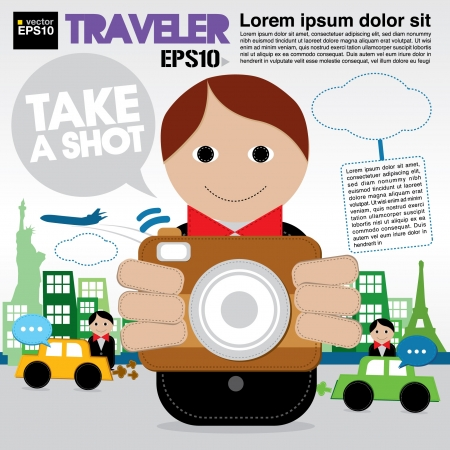 Traveler holding a camera illustration Vector