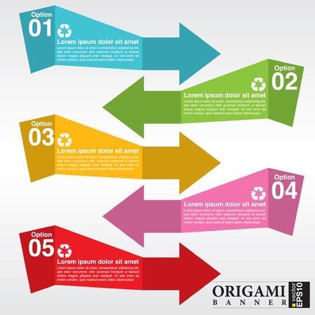 Colorful Stylish Origami Banners  Illustration
