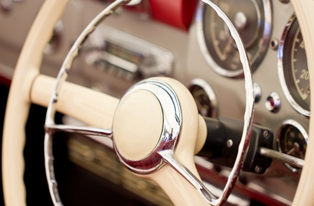 Steering wheel on classic car  photo