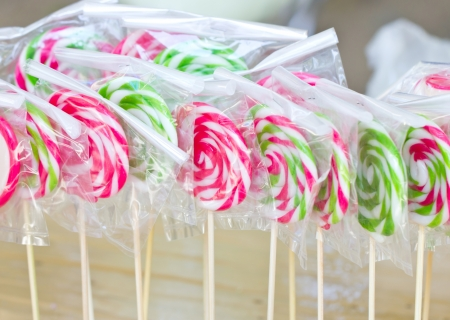 Colorful lollipops in plastic wrap  photo