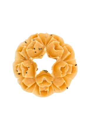 fried snack: Honeycomb cookie, Thai tradition fried snack isolated on white