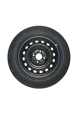 radial tire: Spare tire isolated on white  Stock Photo
