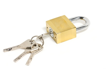 pad lock: Golden padlock and key isolated on white