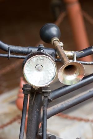 old bicycle: Vintage bicycle horn on handlebar
