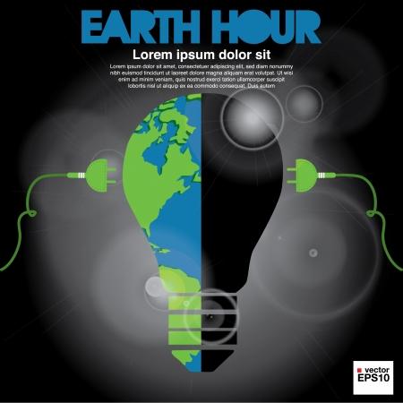 unplugged: La Hora del Planeta conceptual ilustraci�n vectorial EPS10