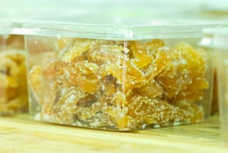 transfigure: Mango preserve fruit in transparent plastic box
