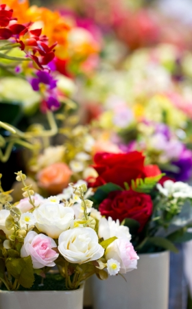 artificial flowers: Close up of colorful artificial flowers  Stock Photo