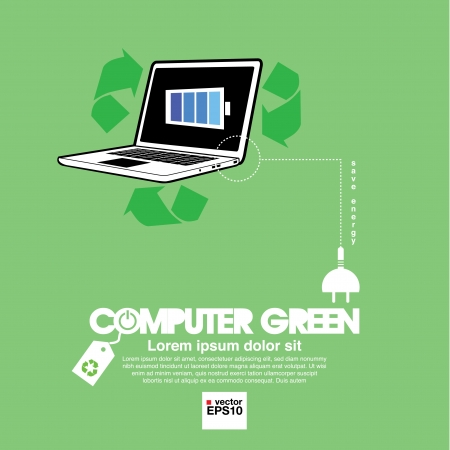 Computer with green concept   Stock Vector - 21893240