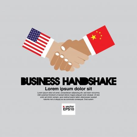china business: Business Handshake  United States of America and China  Illustration