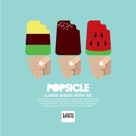 popsicle: Variety ice cream in Hand