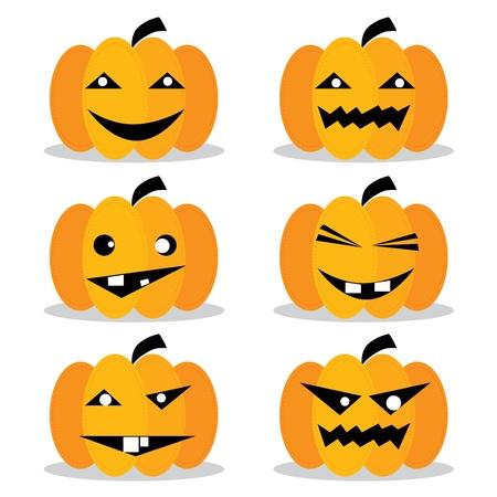 pumpkin face: Pumpkins Halloween Set