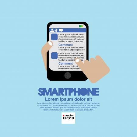 smartphone mano: Smartphone in mano Vettoriali