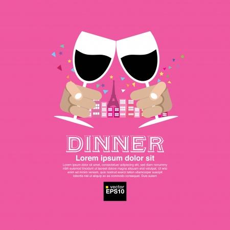 pareja comiendo: Citas Cena Vectores