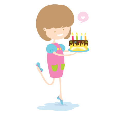 Happy Girl With Delicious Cake Vector Illustration  Vector