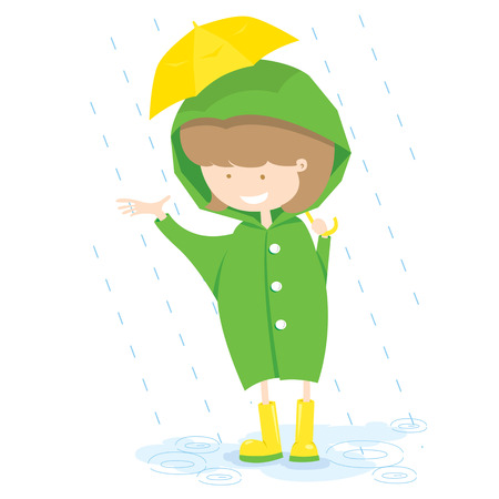 Little Girl In Rainy Day Vector Illustration  Vector