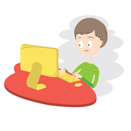 Unhappy Boy Using Computer Vector Illustration  Vector