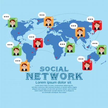 Social Network Vector Illustration Conceptual EPS10  Vector