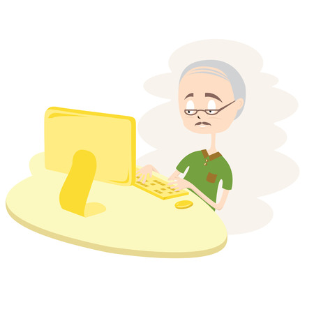 Happy Old Man Using Computer Vector Illustration Vector