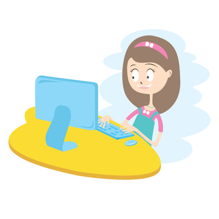 Happy Girl Using Computer Vector Illustration EPS10  Vector