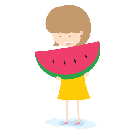 Girl With Watermelon Vector  Vector