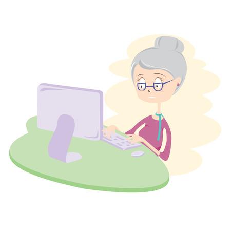 Gelukkige Oude Vrouw Met Computer Vector Illustratie