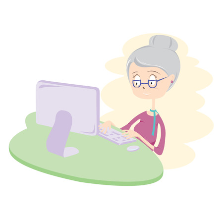Happy Old Woman Using Computer Vector Illustration  Vector