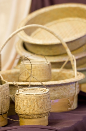 Sticky Rice Container and Wickerwork Handicraft  photo