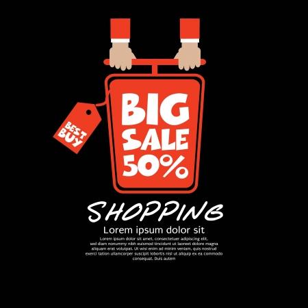 Top View Shopping Cart Big Sale Concept Vector