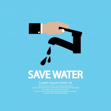 agua grifo: Ilustración de Conservación de Agua Vector Conceptual