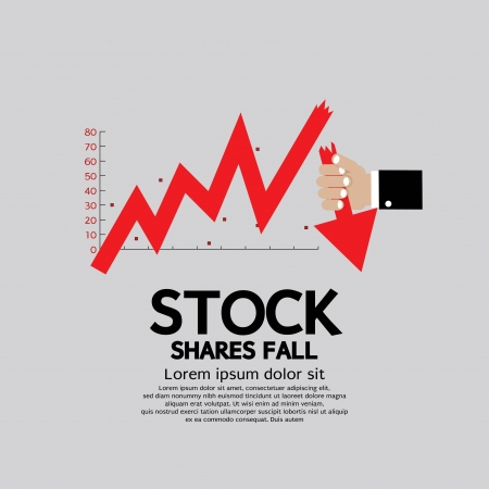 downturn: Stock Shares Fall Down Vector Illustration Conceptual  Illustration