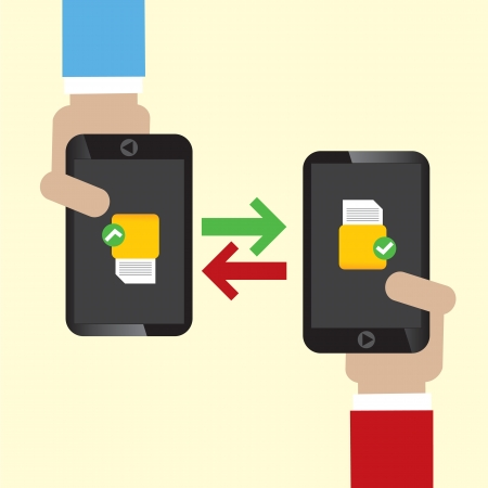 Data Exchange on Mobile Illustration  Vector