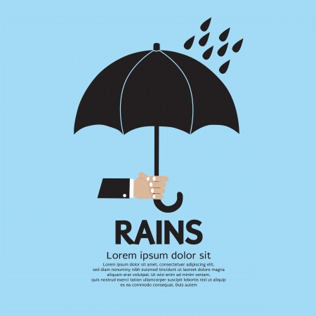umbrella rain: Umbrella in The Rain Illustration