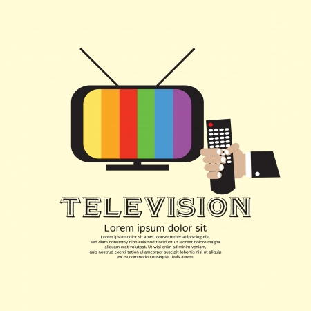 tv remote: Retro Television With Hand Holding A Remote Control  Illustration