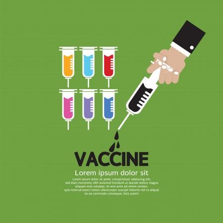 vacuna: Mano que sostiene la jeringa con la vacuna interior