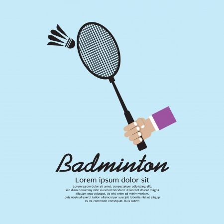 badminton: Hand Holding A Badminton Racket Vector Illustration EPS10