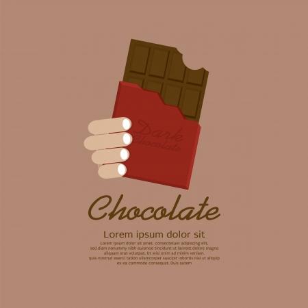 barra de chocolate: Barra De Chocolate En La Ilustraci�n Red Wrap Vector EPS10