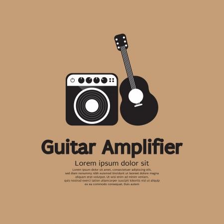guitar amplifier: Guitar And Amplifier Vector Illustration